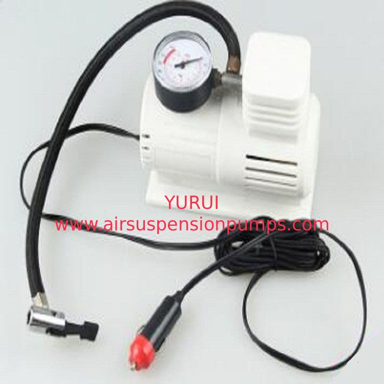 White Mini Air Pump With 45cm Hose , Hand Held Heavy Duty Car Air Compressor